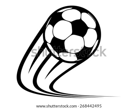Zooming soccer ball flying through the air with curved motion trails in a black and white - stock photo