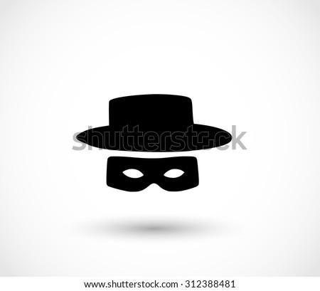 Zorro mask icon - stock photo