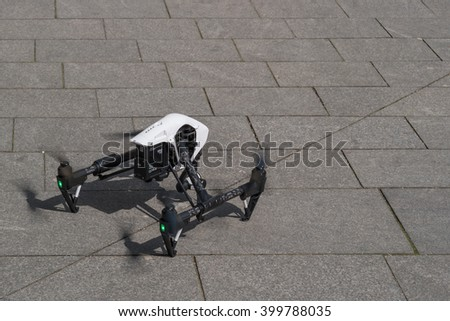 Zrenjanin, SERBIA: April  2016, Image of the Dji Inspire 1 drone UAV quadcopter which shoots 4k video and 12mp still images and is controlled by wireless remote with a range of 4km - stock photo