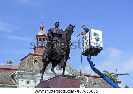 ZRENJANIN, SERBIA - MAY 11; 2016 Action washing and cleaning of the monument to King Peter in the city center.