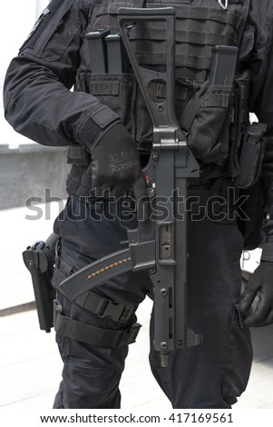 Zrenjanin, SERBIA: May 2016, Detail of Serbian Armed Forces Military Police Cobra unit Soldier armed with Heckler & Koch UMP 9mm submachine gun - stock photo