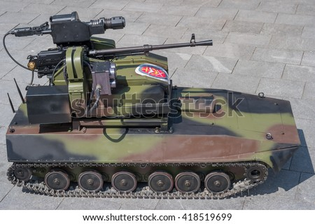 Zrenjanin, SERBIA: May 2016, MILOS, modern remote controlled short range anti infantry drone armed with PKT 7.62mm Machine Gun and Grenade Launcher RBG 40mm / 6 M11. Milos is produced by VTI Beograd - stock photo