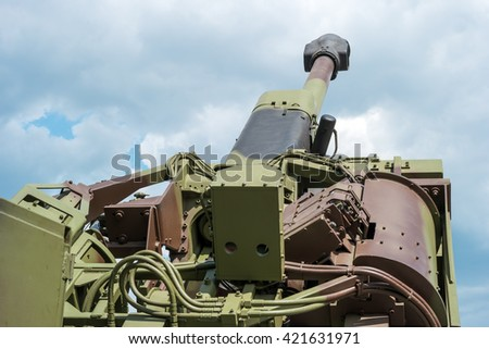 Zrenjanin, SERBIA: May 2016, Rear Detail of SORA Self-propelled fully-automatic howitzer 122mm. Developed by VTI Beograd - stock photo