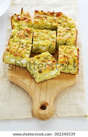 Zucchini and cheese pie . Food - stock photo