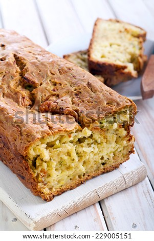 Zucchini and feta herb bread - stock photo