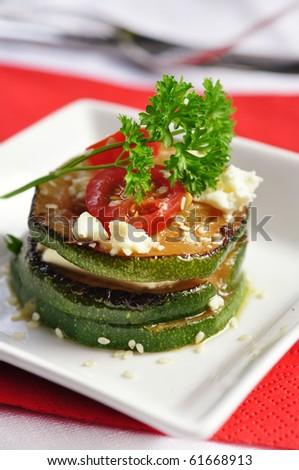 zucchini appetizer - stock photo