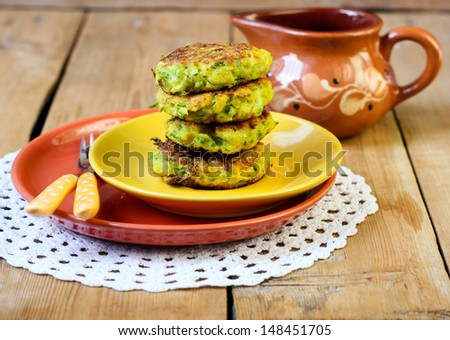 Zucchini fried cakes on plate