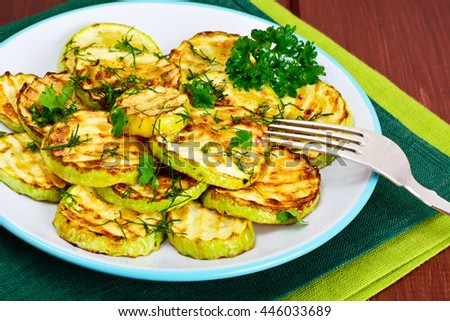 Zucchini Grilled with Fennel on Wooden Background Studio Photo