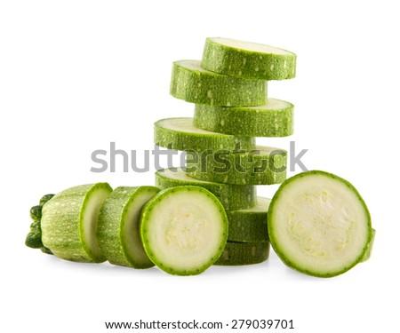 zucchini on a white background - stock photo
