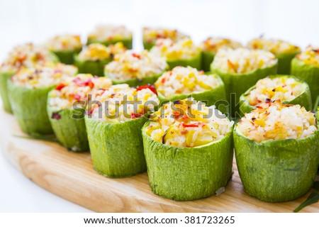 zucchini stuffed with rice  - stock photo