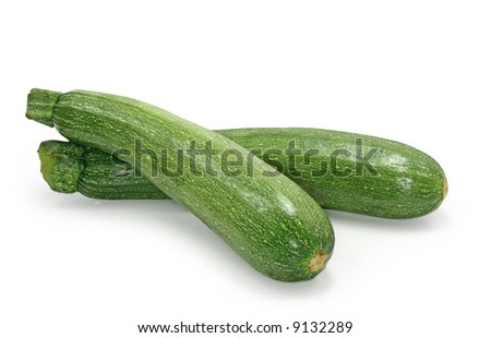 zucchinis isolated on white background - stock photo