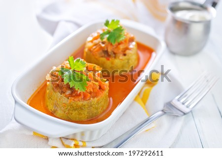Zucchinis stuffed with meat - stock photo