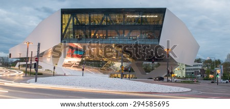 Zuffenhausen, Germany. April 04, 2014: High Dynamik Photo of the Porsche Museum, an automobile museum in the Zuffenhausen district of Stuttgart, Germany on the site of carmaker Porsche.