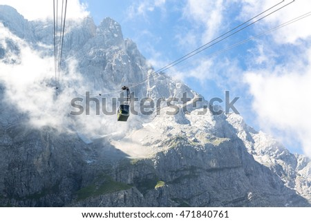 Zugspitze Alpine Alps Cable car to  top mountain of Germany