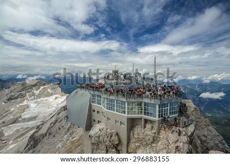 ZUGSPITZE, GERMANY - AUGUST 8: Mountain Station at highes peak of Germany, the Zugspitze on Aug 8 2014 in Zugspitze, Alps, Germany, Europe - stock photo
