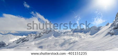 Zugspitze Glacier Ski Resort in Bavarian Alps, Germany - stock photo