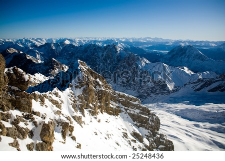 Zugspitze peak view in the winter time. Alps, Bavaria, Germany.