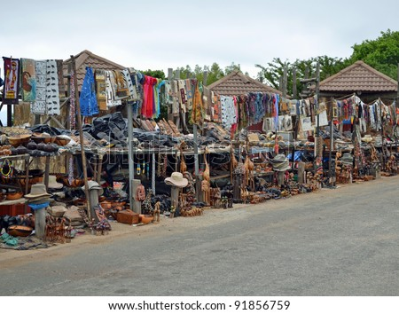 Zulu market in South Africa, Traditional african artifacts - stock photo