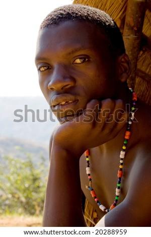 zulu tribe man - stock photo