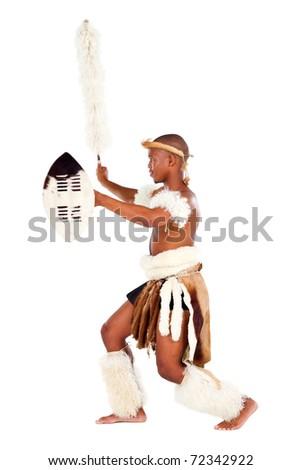 Zulu warrior studio portrait - stock photo
