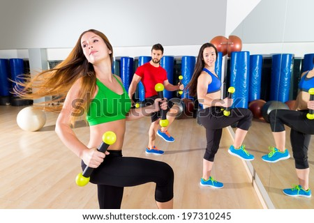 zumba dance cardio people group training at fitness gym workout exercise - stock photo