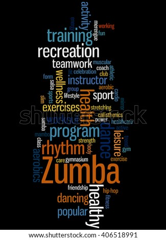 Zumba Fitness, word cloud concept on black background.