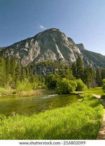 Zumwalt Meadow in Kings Canyon National Park, CA - stock photo