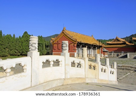 ZUNHUA, CHINA - MAY 11, 2013: Ancient architecture scenery in the Eastern Royal Tombs of the Qing Dynasty