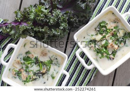 Zuppa Toscana. Sausage and Kale Tuscana Soup - stock photo