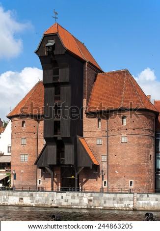 Zuraw in Gdansk, Poland. The oldest medieval port crane in Europe - stock photo