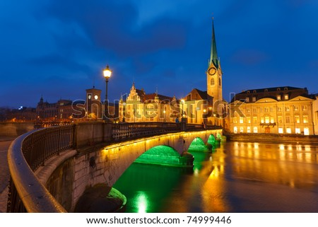 Zurich at night - stock photo