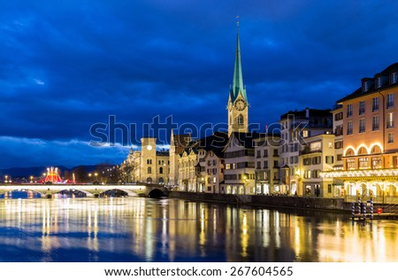 Zurich at night in Switzerland - stock photo