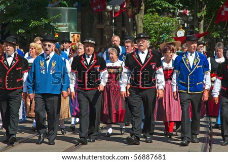 ZURICH - AUGUST 1: Swiss National Day parade on August 1, 2009 in Zurich, Switzerland. Parade opening representative of local communities - stock photo