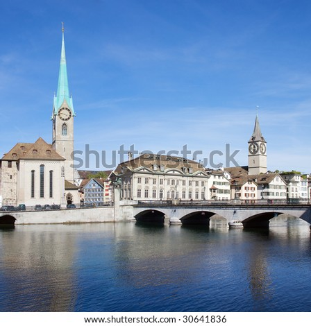 Zurich cityscape (Famous Fraumuenster Cathedral and St.Peter Church) - stock photo