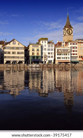 Zurich cityscape - St.Peter's church (Switzerland) - stock photo