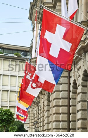 Zurich decorated for the Swiss National Day - stock photo