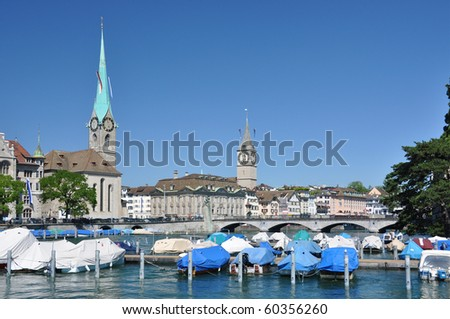 Zurich downtown across Limmat river - stock photo