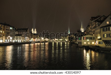 Zurich downtown at night - stock photo