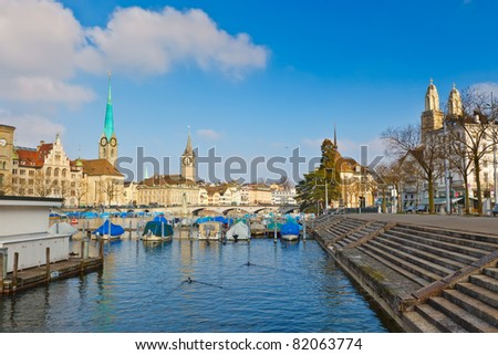Zurich from Limmat river - stock photo