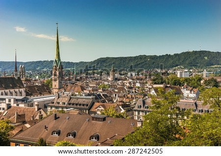 Zurich - Historical city and capital of Switzerland - stock photo