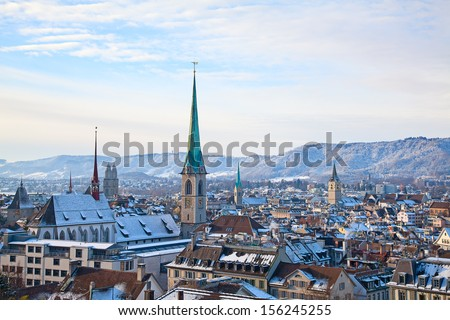 Zurich - historical city and financial capital of Switzerland - stock photo