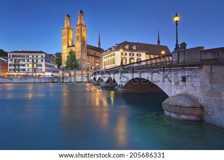 Zurich. Image of Zurich, capital of Switzerland, during twilight blue hour. - stock photo