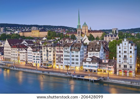 Zurich. Image of Zurich, capital of Switzerland, during twilight blue hour. - stock photo