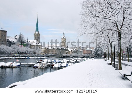 Zurich in winter - stock photo