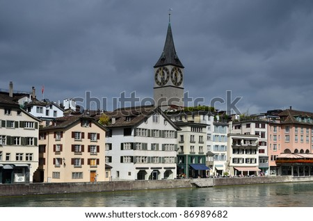 Zurich is the largest city in Switzerland and capital of the canton of Zurich. The city is the Cultural Capital of Switzerland, the political capital of Switzerland being Bern. - stock photo