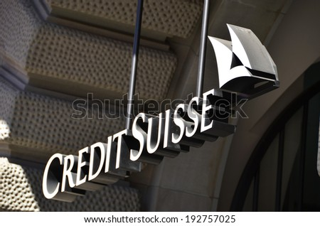 ZURICH - JANUARY 10:Credit Suisse is the second-largest Swiss bank. Credit Suisse is selling its exchange-traded fund business to U.S. rival BlackRock Inc. January 10, 2013 in Zurich, Switzerland  - stock photo
