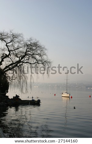 Zurich lake at the morning (Switzerland)