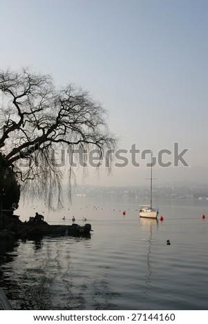 Zurich lake at the morning (Switzerland) - stock photo