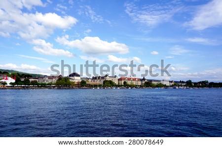 zurich lake landscape - stock photo