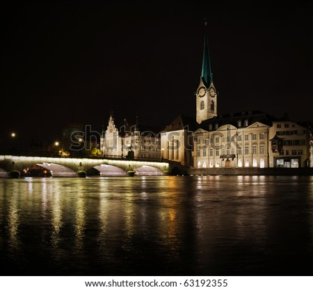 Zurich night view from river side, autumn